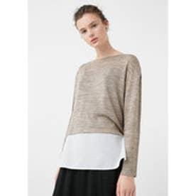 マンゴ MANGO Contrasting t-shirt (lt pastel grey)