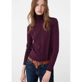 マンゴ MANGO Ribbed cotton-blend sweater (dark purple)
