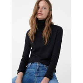 マンゴ MANGO Ribbed cotton-blend sweater (black)