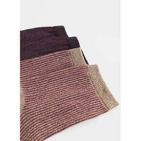 マンゴ MANGO Metallic ankle socks pack (dark red)