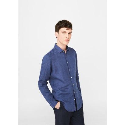 スリムフィットシャツ .-- CALCUTA8 (ネイビー)