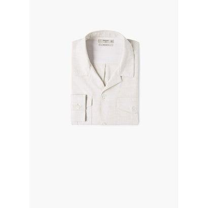 スリムフィットシャツ .-- TAJO (ライトベージュ)