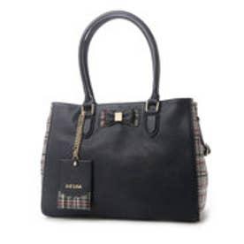 リズリサ LIZ LISA ティアラ チェックツウィード素材使いリボン2WAYA4トートバッグ (ネイビー)