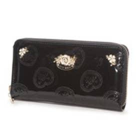 リズリサ LIZ LISA チェリル ハートローズ柄エナメルラウンド長財布 (ブラック)