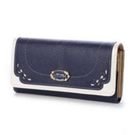 リズリサ LIZ LISA ミュール リボン型抜バイカラー長財布 (ネイビー)