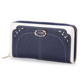 リズリサ LIZ LISA ミュール リボン型抜バイカラーラウンド長財布 (ネイビー)
