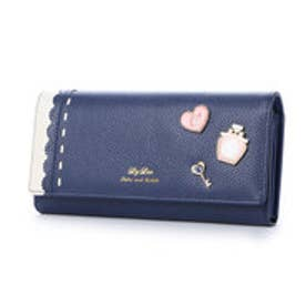 リズリサ LIZ LISA ファニー ブローチ使いラメ加工牛革長財布 (ネイビー)