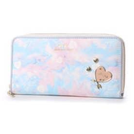 リズリサ LIZ LISA ホイップ ハートブローチ&ハートプリントラウンド長財布 (ブルー)