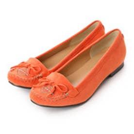 サルース salus 刺繍モカシンフラットシューズパンプス (オレンジスエード)