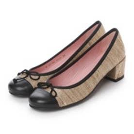 プリティ バレリーナ PrettyBallerinas JOANNA leather-silky(ジョアンナ レザー-シルキー)ヒール付きバレエシューズ (ゴールド x ブラック)