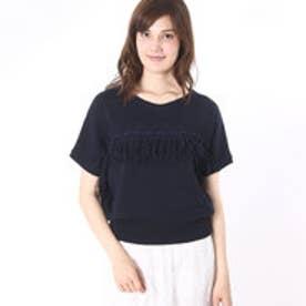 パルファム ドゥ シャルマンフルール Parfum de Charmant Fleur 7GG fringe line knit/7ゲージフリンジラインニット (NAVY(*OFF))