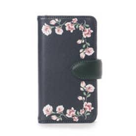 &シュエット フラワープリントiPhone7ケース(ネイビー)