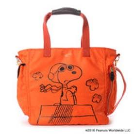 サマンサタバサデラックス スヌーピーフライング・エーストートバッグ(オレンジ)