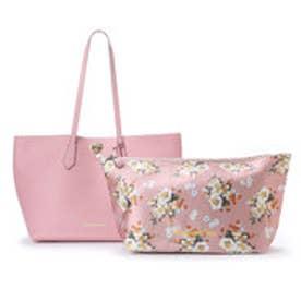 サマンサベガ フラワーバッグインポーチ付きトートバッグ(ピンク)