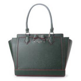 サマンサベガ リボンパスケース付きバッグ ダルカラー 大(グリーン)