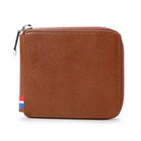 サマンサキングズ トリコロールカラー折財布(ラウンドジップ)(ブラウン)