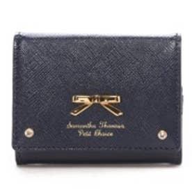 サマンサタバサプチチョイス エナメルシンプルリボン 3折ミニ財布(ネイビー)