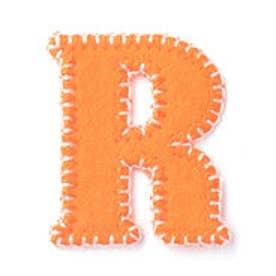 ドリームサマンサキッズ イニシャルワッペン R(オレンジ)