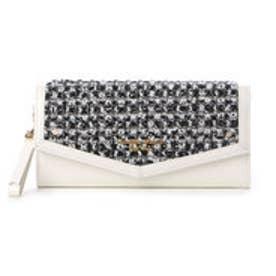 サマンサタバサプチチョイス シンプルフラワー ツイードバージョン 長財布(オフホワイト)