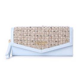 サマンサタバサプチチョイス シンプルフラワー ツイードバージョン 長財布(ライトブルー)