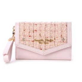 サマンサタバサプチチョイス シンプルフラワー ツイードバージョン ミニ財布(ベビーピンク)
