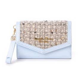 サマンサタバサプチチョイス シンプルフラワー ツイードバージョン ミニ財布(ライトブルー)