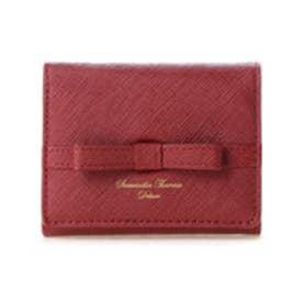 サマンサタバサデラックス シンプルリボン小物 三つ折り財布(ワインレッド)