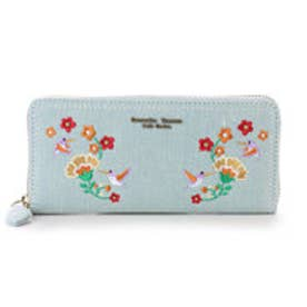 サマンサタバサプチチョイス デニム刺繍シリーズ ラウンドジップ長財布(ライトブルー)