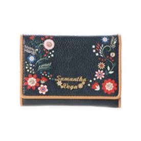 サマンサベガ フラワープリント ミニ財布(ブラック)