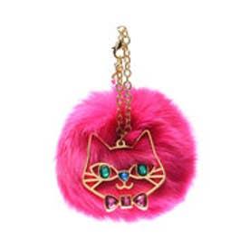 サマンサタバサプチチョイス 猫モチーフ付ファーチャーム(フューシャピンク)