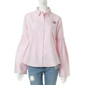 サマンサベガ フリルスリーブストライプシャツS(ベビーピンク)