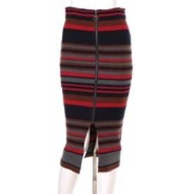 レディアゼル マルチボーダータイトスカート(赤系)