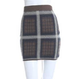 レディアゼル チェックジャガードセットアップスカート(カーキ)