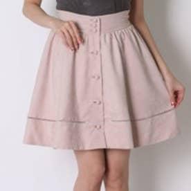 ウィルセレクション スエード前ボタンスカート(ピンク)