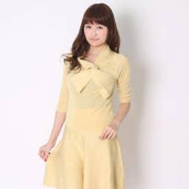 スウィングル 7分袖衿ねじりプルオーバー&ニットフレアスカートセット(イエロー)
