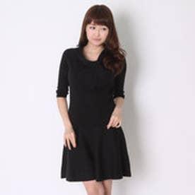 スウィングル 7分袖衿ねじりプルオーバー&ニットフレアスカートセット(ブラック)
