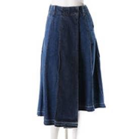 レディアゼル 変形デニムヴィンテージ巻きスカート(ブルー)