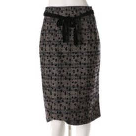 スウィングル レオパード柄フロッキープリントチェックタイトスカート(レオパード柄)
