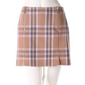 レディアゼル チェックZIP台形スカート(ベージュ系チェック)