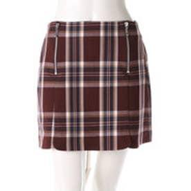 レディアゼル チェックZIP台形スカート(赤系チェック)