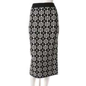 レディアゼル レトロフラワージャガードニットスカート(ブラック)