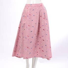 レディアゼル スクエア刺繍シャンタンフレアスカート(ピンク)