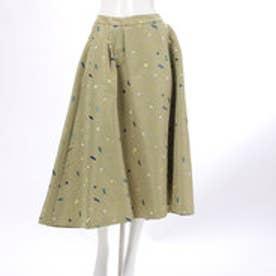 レディアゼル スクエア刺繍シャンタンフレアスカート(グリーン)