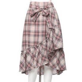 ウィルセレクション ラメビエラチェックイレギュラーヘムスカート(ピンク)