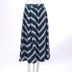 レディアゼル ジグザグボーダーフレアスカート(紺系幾何、パネル柄)