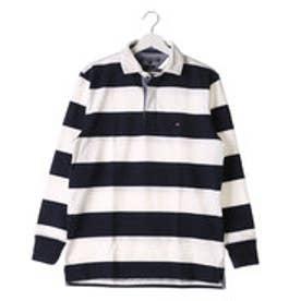 トミーヒルフィガー TOMMY HILFIGER ブロックストライプラグビーポロシャツ (ホワイト)