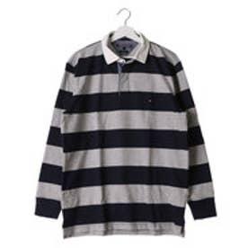 トミーヒルフィガー TOMMY HILFIGER ブロックストライプラグビーポロシャツ (グレー)