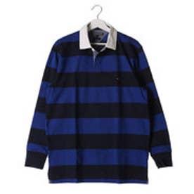 トミーヒルフィガー TOMMY HILFIGER ブロックストライプラグビーポロシャツ (ブルー)