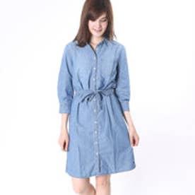 トミーヒルフィガー TOMMY HILFIGER SHIRT DRESS 3/4 SLV SENNA (ブルー)