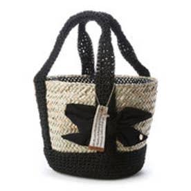 カシュカシュ cache cache / 手編みハンドルリボン付きかごバッグ (ブラック)